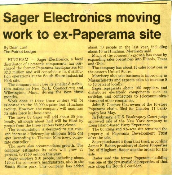 Sager Electronics Expansion in the 80s