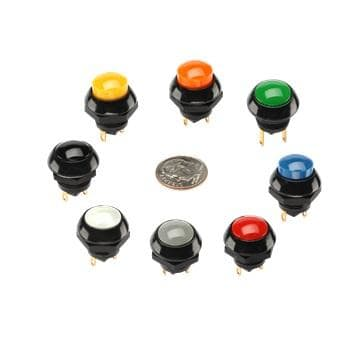 P9-131128 OTTO Switch Push Button N.O. Flush Dome 5A 115VAC 28VDC Momentary Contact Quick Connect Panel Mount