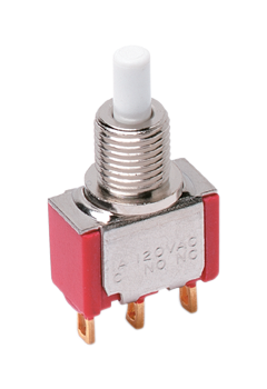 8325SHZBE C&K Switch Push Button ON Mom 3PDT Round Plunger 20VAC 20VDC 0.4VA Momentary Contact Solder Lug Panel Mo