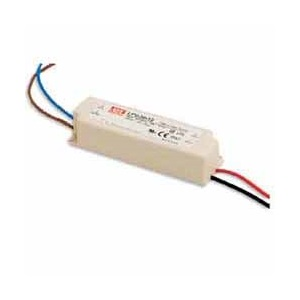LPV-20-12 MEAN WELL 20 W, SINGLE OUTPUT, 12 V@1.67 A LED LIGHTING PLASTIC AC-DC POWER SUPPLY